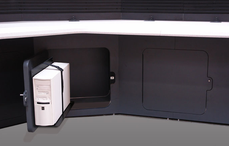CPU rack mounted to an access door offers quick access without the need to crawl under the console